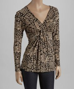 Loving this Black & Tan Geometric Twist V-Neck Top on #zulily! #zulilyfinds   Simply Chic Every Day