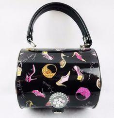 Metal Black Enamel Handbag Purse Bag Prezzo Brand Ladies Heels Fashion  #FashionHandbag #Metalbarrel