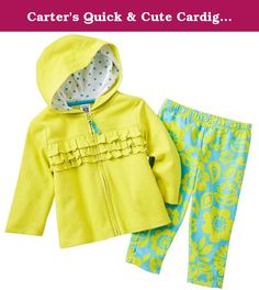 Carter's Quick & Cute Cardigan Set - Ruffles & Flowers-NB. Carter's Quick & Cute Cardigan Set 100% Cotton Silky Interlock - Cardigan, 100% Cotton Silky 1x1 Rib - Hood Lining & Pant .