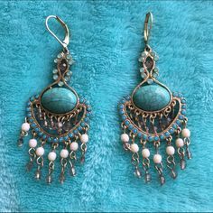 LOFT Earrings Amazing turquoise chandelier earrings. Worn once, going to be a great addition to your spring/summer accessories collection  20% discount when you bundle 2 items or more!  LOFT Jewelry Earrings
