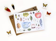 Fall Acorn Leaf Collage  Watercolor Illustrated by SketchyNotions
