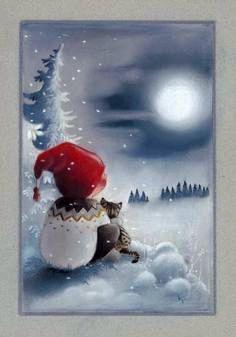 "From the ""Adventures of Pukkutonttu"" series, no 8 -- of Finnish Christmas cards -- by Kaarina Toivanen Christmas Mood, Noel Christmas, Christmas And New Year, Christmas Crafts, Xmas, Illustration Noel, Christmas Illustration, Illustrations, Christmas Clipart"