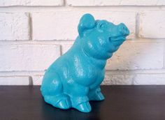 Teal Green Pig Figurine   Teal Home Decor Statue by CurrentClassic