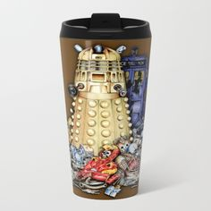 The Best Robot in the universe METAL TRAVEL MUG #mug #metaltravelmug #metal #tardis #robot #bestrobot #dalek #phonebox