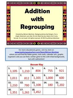 This is a set of 18 task cards for kids to practice adding 3-digit numbers with regrouping. The tribal backgrounds match those of the Subtraction with Regrouping set in case you want to use both in centers.An answer key is provided for self-correction.