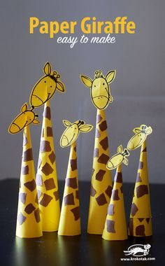 Paper Giraffes – so easy to make Basteln mit Papier - Tiere basteln - diesmal Giraffen. Preschool Jungle, Jungle Crafts, Giraffe Crafts, Quick Crafts, Paper Crafts For Kids, Diy For Kids, Simple Paper Crafts, Simple Craft Ideas, Art And Craft