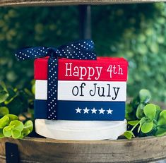 Fourth Of July Decor, 4th Of July Decorations, July 4th, Holiday Decorations, Seasonal Decor, Stack Of Books, Mini Books, Patriotic Crafts, Americana Crafts