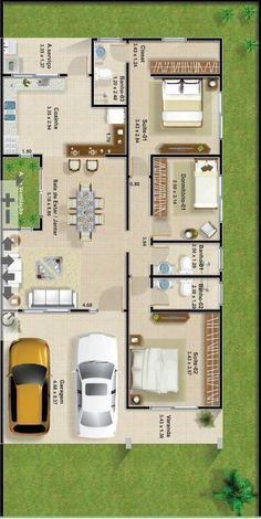 Best 12 Home design plan with 4 bedrooms – SkillOfKing. House Layout Plans, Bungalow House Plans, Dream House Plans, Small House Plans, House Layouts, House Floor Plans, Small House Design, Modern House Design, Single Storey House Plans