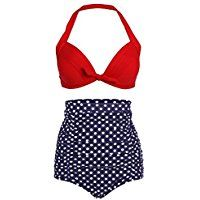 Cuteplus 50S Retro Vintage Floral Print High Waist Bikini SwimSuit for Women Girls -- Click image to review more details.