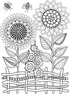 Sunflower coloring pages sunflower coloring pages vector doodle sunflowers coloring book for adult summer flowers flowerbed
