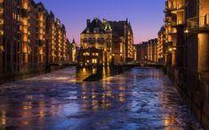 Download wallpapers Speicherstadt, Hamburg, spring, evening, city lights, Germany