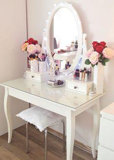 ideas makeup table classic interior design for 2019 Makeup Table Vanity, Vanity Room, Vanity Decor, Makeup Desk, Makeup Vanities, Vanity Ideas, Makeup Storage, Ikea Vanity Table, Make Up Desk Vanity