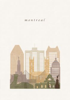 Travel Collage, Travel Wall Art, Abstract City, Skyline Art, Of Montreal, Travel Illustration, Country Art, City Art, Minimalist Art