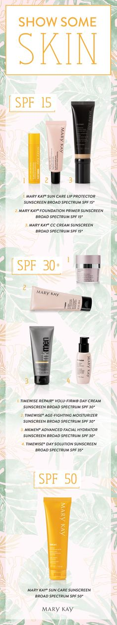 SPF protection at every level! Find the right formula for your skin care needs with Mary Kay sun care products. | Mary Kay