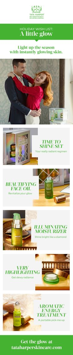 Who doesn't want to glow this holiday season? Give (or get) the gift of glowing skin with 100% natural and non-toxic skincare that works. Mix and match for your own really radiant beauty regimen. And don't forget a little aromatherapy for a perfect pick me up!