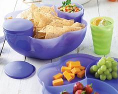 Tupperware Chip 'n Dip Set Blue Bowl Set Seals Chips Salads Dips Parties New