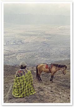 Horseman of mount Bromo. Indonesia