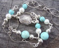 Open Space  Necklace  Handmade with Turquoise by BrigittesJewels, $42.00