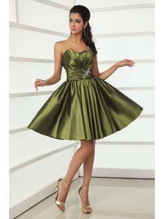 Clover Short A-line Ruffled Satin Flattering Cocktail Dress