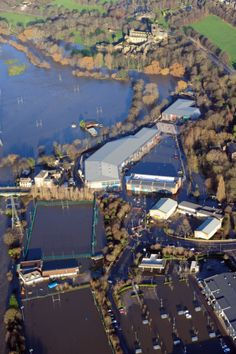 Aerial pictures over the Kirkstall Road area of Leeds, show where the River Aire has burst its banks. Leeds City, Banks, City Photo, River, Mansions, House Styles, Pictures, Projects, Photos