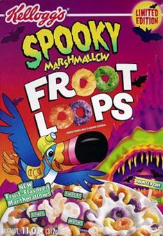 Spooky Marshmallow Froot Loops 18 Of The Best Halloween Cereals That Ever Existed Froot Loops, Cereal Packaging, Types Of Cereal, Cereal Killer, Granola Cereal, Breakfast Cereal, Breakfast Club, New Fruit, Cardboard Crafts