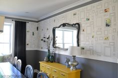 wall paper and decorative curtains.