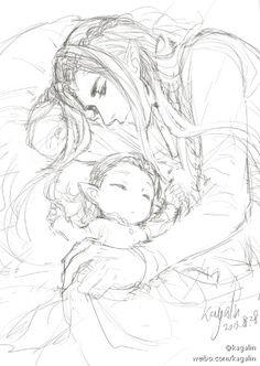 Thranduil King of Mirkwood with his little son - Legolas