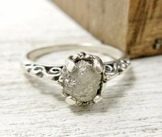 *Rough Uncut Diamond Ring with Sterling Silver Scroll Band by wwcsilverjewelry...