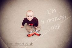 Infant photo shoot. Baby photo ideas. Baby boy pictures. Infant with age written in chalk. 6 month photo ideas. 9 month photo ideas. Lauren Davidson Photography.