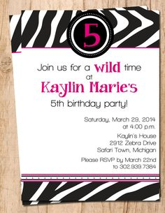 Animal Print Birthday Invite .Teen . Girl . Adult .  Printable Invitation . JPEG or PDF File - zebra
