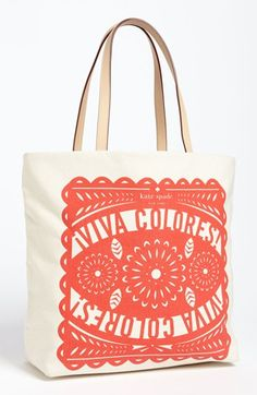 I love this bag! kate spade new york 'south of the border' canvas bon shopper available at #Nordstrom