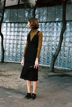 longsleeve top black dress, black oxford shoes