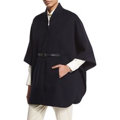 Loro Piana Audrey Belted Felt Cape ($4,575) ❤ liked on Polyvore featuring outerwear, smoke, cape coat, belted cape coat, leather belt, loro piana and belted cape