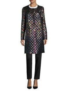 Silk Print Quilted Collarless Coat from Mary Katrantzou on Gilt