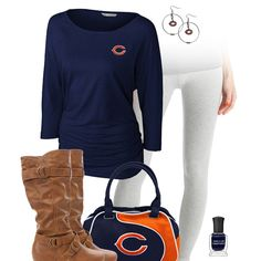 Get fashion chic and show some love for the San Diego Chargers with some sleek leggings, a team dolman top and accessories, and some trendy buckle boots. Chicago Bears, Steelers Gear, Steelers Stuff, Oakland Raiders Fans, Raiders Baby, Brown Leggings, San Diego Chargers, Houston Texans, Legging Outfits