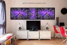 Black Framed Triptych by Jenny Rainbow Rainbow Website, Fine Art Prints, Framed Prints, Triptych, Abstract Pattern, Home Art, Color Mixing, Purple, Blue