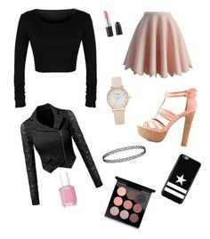 """Pink and Black look"" by girlyaddict on Polyvore featuring mode, Chicwish, Charlotte Russe, Givenchy, Essie et MAC Cosmetics"