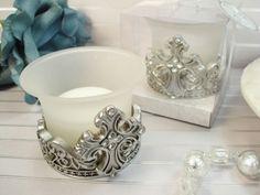 Antique Silver Design Cross Candle Holder Favors