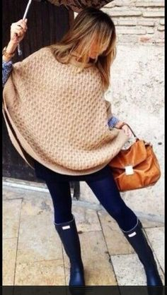Not exactly this sweater but the rainboot big sweater combo! Cozyy :)