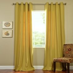 Shop for Exclusive Fabrics Citron Cotenza Grommet Curtain Panel. Get free delivery On EVERYTHING* Overstock - Your Online Home Decor Outlet Store! Yellow Curtains, Long Curtains, Cotton Curtains, Grommet Curtains, Panel Curtains, Cotton Fabric, My Living Room, Living Room Decor, Dining Room