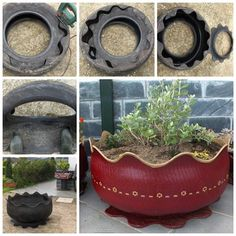 Transform old tires into cool planters .... this is the best transformation I've seen.