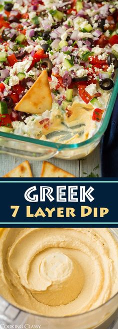 Seven-Layer Dip Cups Forget the classic seven layer bean dip, who needs that when youve got this incredibly fresh and utterly delicious Seven Layer Greek Dip! This dip begins Vegetarian Recipes, Cooking Recipes, Recipes With Hummus, Hummus Recipe, Greek Food Recipes, Vegetarian Tapas, Vegetarian Christmas Recipes, Chip Dip Recipes, Vegetarian Starters