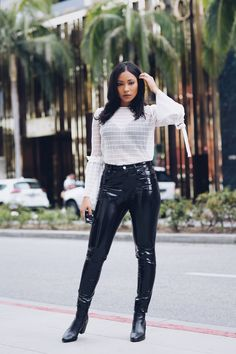 www.streetstylecity.blogspot.com Fashion inspired by the people in the street ootd look outfit sexy high heels legs woman girl leather patent pvc vinyl pants trousers sheer seethrough