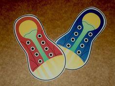 Para aprender a atar los cordones, ideal para niños entre 4 y 5 años. Con moldes para hacer en goma Eva o simplemente imprimirlos.