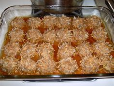 Porcupine meatballs. My new favorite thing to cook. to make: 1 onion chopped 1 green pepper chopped, one pound of chop meat, 1 cup uncooked white rice, salt/pepper to taste Mix well and shape into meatballs. Place in crop pot. Pour one can campbells tomato soup. Cook low 8-9 hrs..