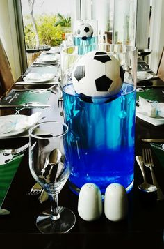 Soccer party centerpiece by party decor creations soccer party, sports Soccer Banquet, Soccer Theme, Soccer Party, Sports Party, Soccer Centerpieces, Party Centerpieces, Sport Craft, Good Day Song, Dog Snacks