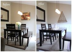 before and after of dining area