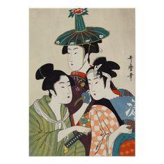 Three young kabuki actors Kitagawa, Utamaro art