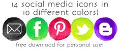 140 FREE Watercolor Social Media Icons | crab+fish Social Media Buttons, Social Media Icons, Classroom Websites, Brand Board, Jewelry Branding, Helpful Tips, Online Business, How To Start A Blog, Blogging