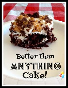 1 package chocolate cake mix   1 can of sweetened condensed milk  1 jar of caramel ice-cream topping  1 tub of cool whip  Heath bar topping